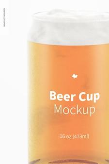 Makieta szklanego kubka piwa 16 uncji, zbliżenie