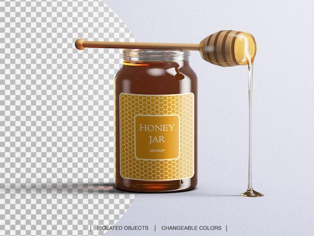 Makieta szklanej butelki do pakowania słoika miodu z łyżką miodu na białym tle