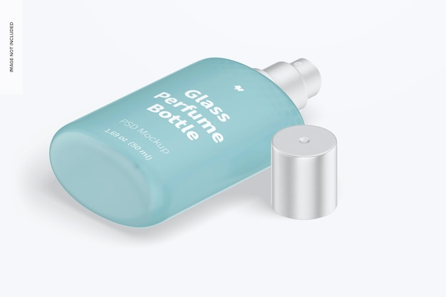 Makieta szklanej butelki perfum o pojemności 50 ml, widok izometryczny z prawej strony