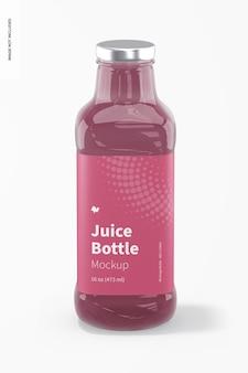 Makieta szklanej butelki soku o pojemności 16 uncji, widok z przodu