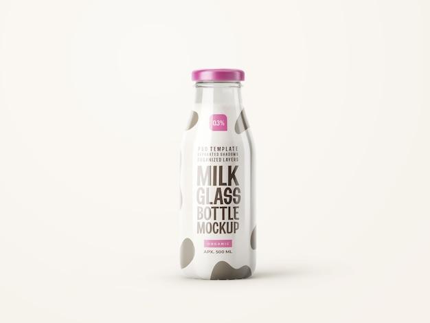 Makieta szklanej butelki świeżego mleka