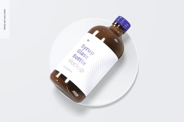 Makieta szklanej butelki syropu o pojemności 4 uncji, widok z góry
