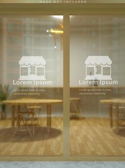 Makieta szklanych drzwi do kawiarni