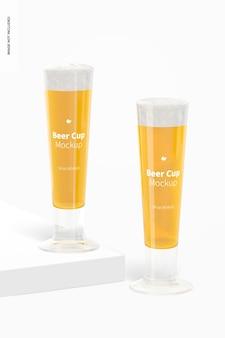 Makieta szklanych kubków piwa o pojemności 14 uncji, widok z przodu