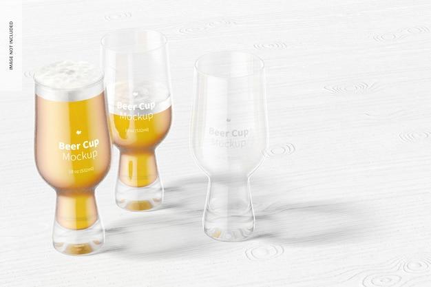 Makieta szklanych kubków piwa o pojemności 18 uncji, perspektywa