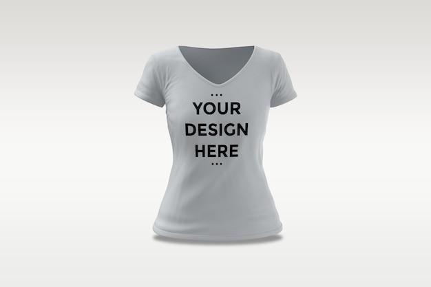 Makieta t-shirt kobieta na białym tle