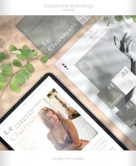Makieta tabletu i branding firmowy z nakładkami cienia liścia