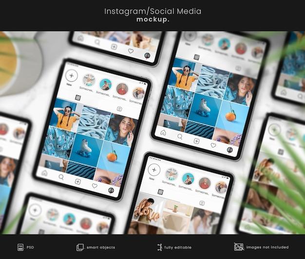 Makieta tabletu instagram na marmurowym stole