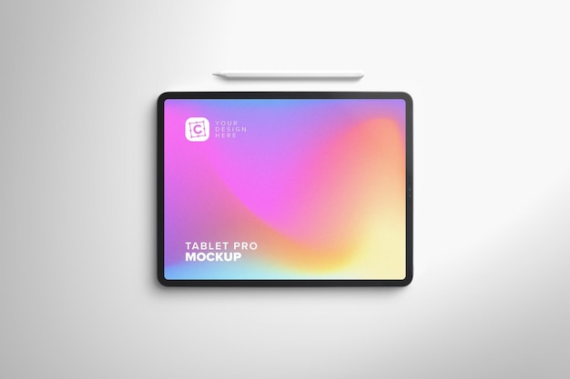 Makieta tabletu landscape pro do sztuki cyfrowej za pomocą pióra