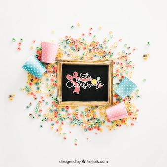 Makieta tablica z urodzinowym projektem