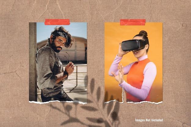 Makieta tablicy nastroju z podwójnym zdjęciem w kształcie portretu