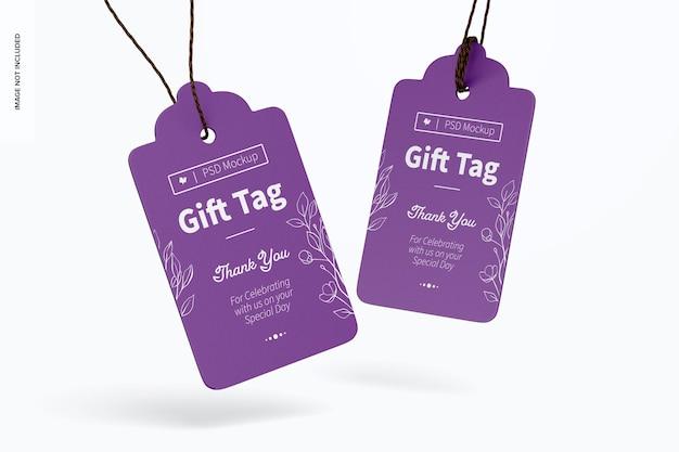 Makieta tagów prezentowych, spadające