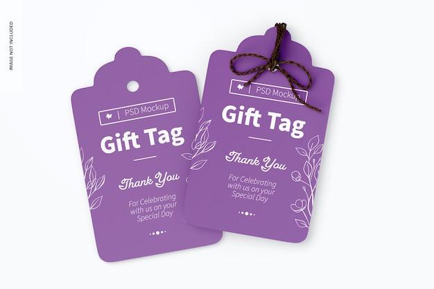 Makieta tagów prezentowych, widok z góry