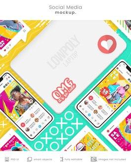 Makieta telefonu instagram dla mediów społecznościowych