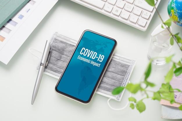 Makieta telefonu komórkowego dla firmy covid 19