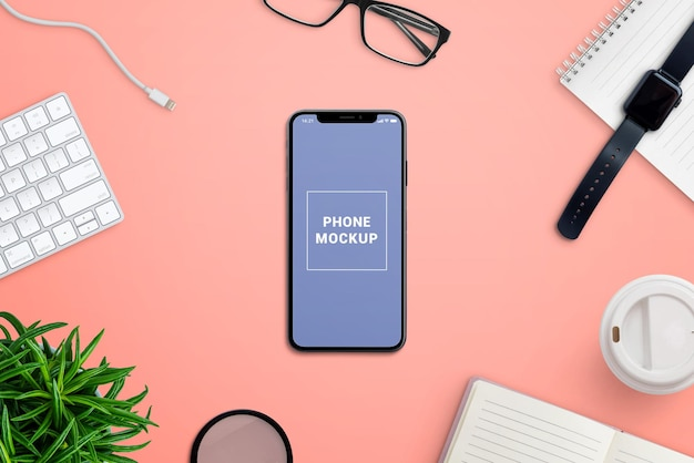 Makieta telefonu na kreatorze sceny biurka
