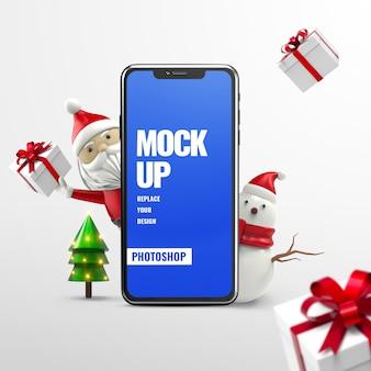 Makieta telefonu świątecznej reklamy na białym tle