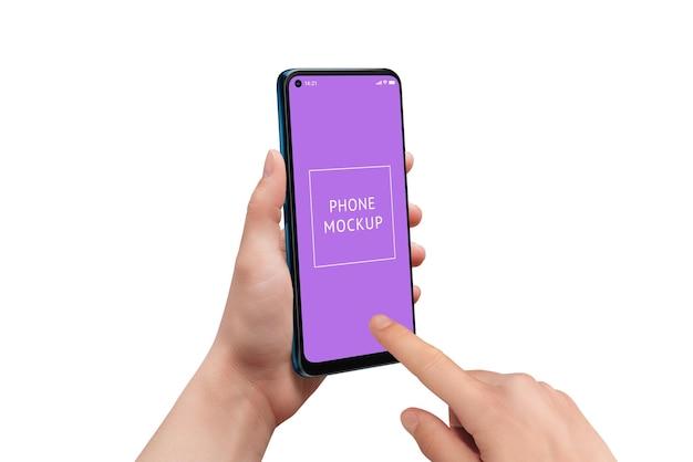 Makieta telefonu w rękach człowieka na białym tle