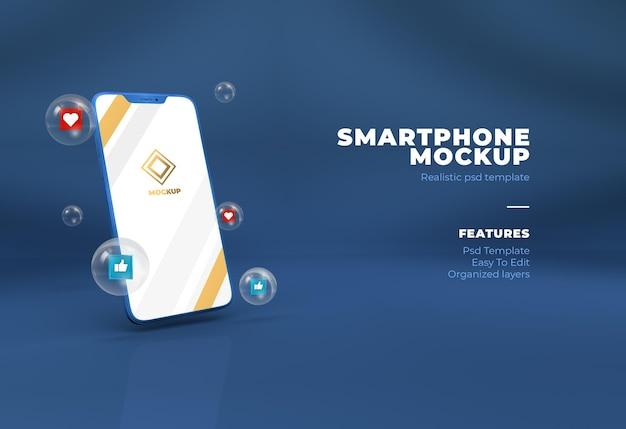 Makieta telefonu z podobnymi powiadomieniami w realistycznym renderowaniu 3d
