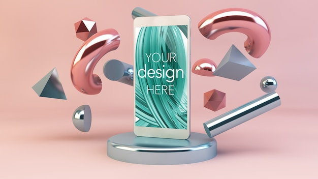 Makieta telefonu z prymitywnymi symbolami 3d