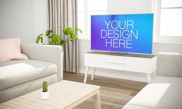 Makieta telewizji wielkoekranowej w nowoczesnym salonie