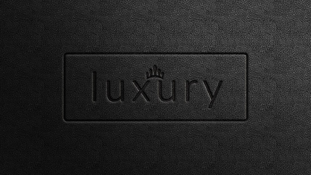 Makieta tłoczonego luksusowego logo na czarnej skórze