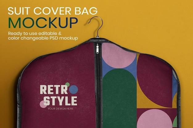 Makieta torby na garnitur psd w stylu retro