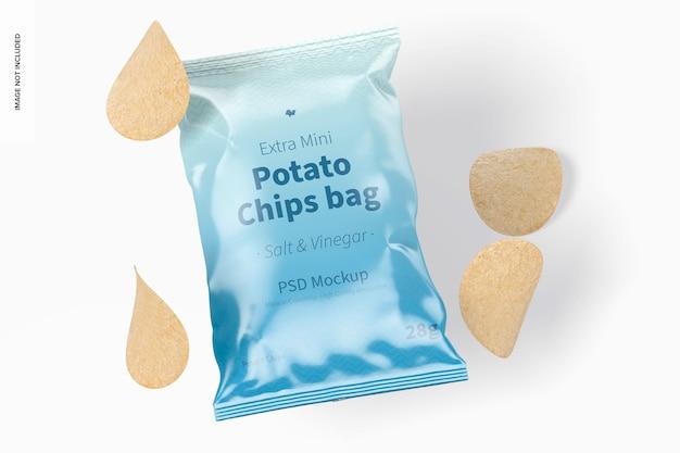 Makieta torby na mini chipsy ziemniaczane, widok z góry