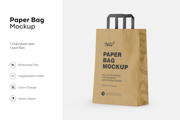 Makieta torby na zakupy papieru kraft na białym tle