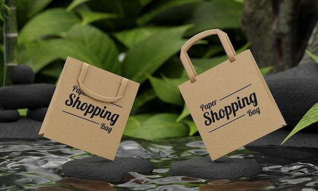 Makieta torby na zakupy z koncepcją natury