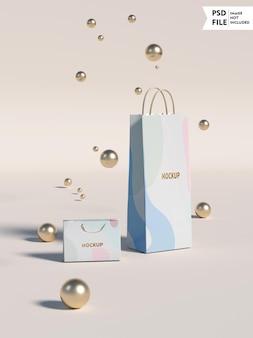 Makieta torby na zakupy ze złotym logo