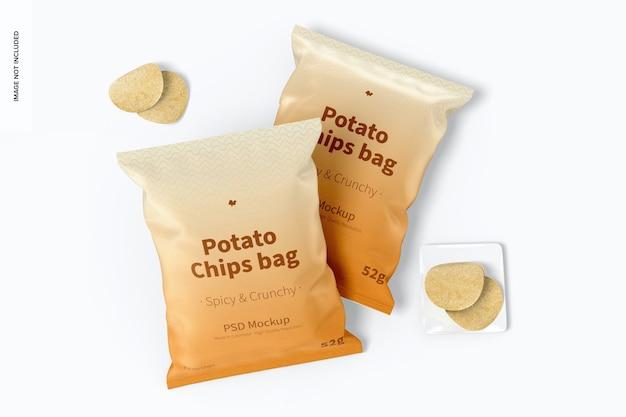 Makieta torebek na chipsy ziemniaczane, widok z góry