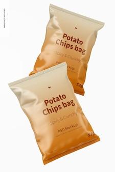 Makieta torebek na chipsy ziemniaczane, widok z przodu