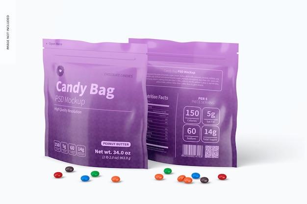 Makieta torebek z cukierkami, widok z lewej