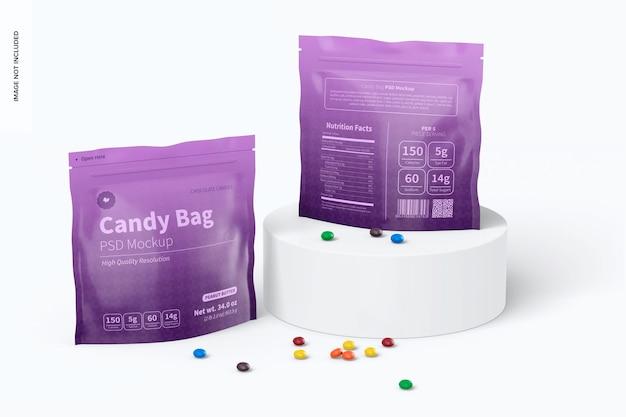 Makieta torebek z cukierkami