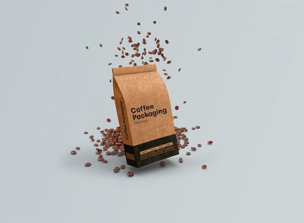 Makieta torebek z kawą grawitacja psd