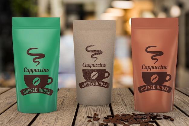 Makieta torebek z kawą