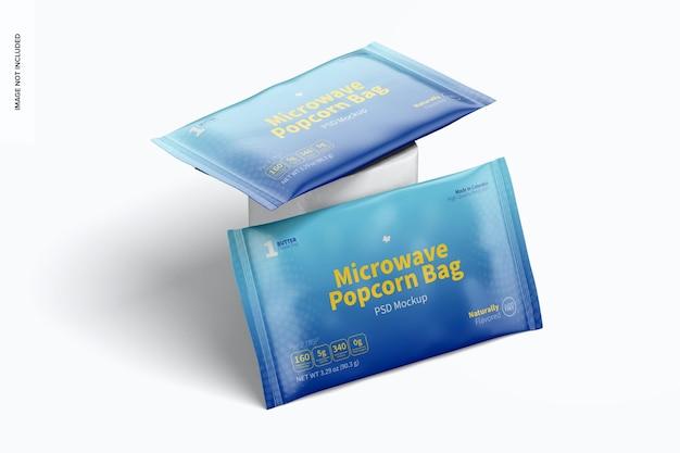 Makieta torebek z popcornem do kuchenki mikrofalowej, oparta