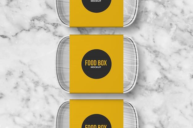 Makieta trzy pudełka na jedzenie na wynos