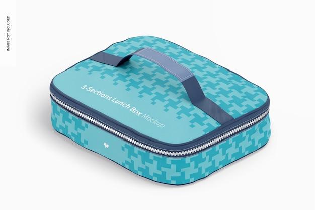 Makieta trzyczęściowego pudełka na lunch, izometryczny widok z lewej strony