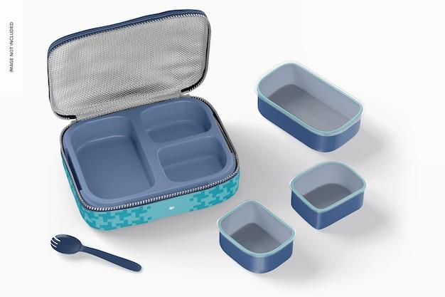 Makieta trzyczęściowego pudełka na lunch, otwarta