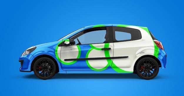 Makieta Typowego Niebiesko-białego Samochodu Miejskiego Premium Psd