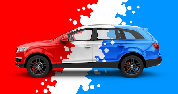 Makieta typowego samochodu miejskiego w kolorze czerwonym i niebieskim