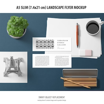 Makieta ulotki a5 slim landscape flyer