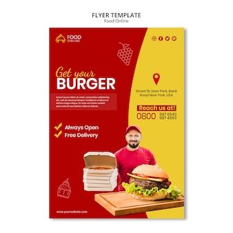 Makieta ulotki koncepcja żywności online