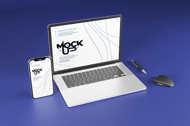 Makieta urządzenia cyfrowego na białym tle