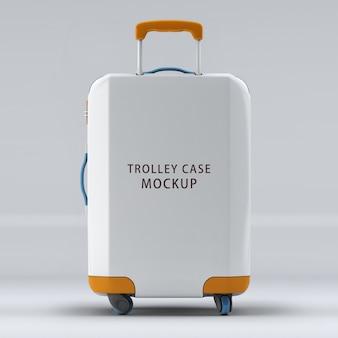 Makieta walizki na kółkach na odwrotnej stronie na białym tle