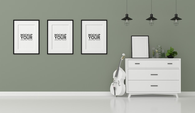 Makieta wewnętrzna ramki na zdjęcia na ścianie w renderowaniu 3d