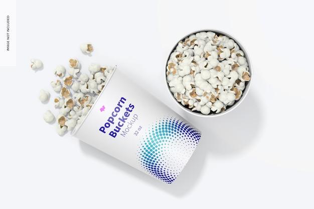 Makieta wiader do popcornu o pojemności 32 uncji, widok z góry