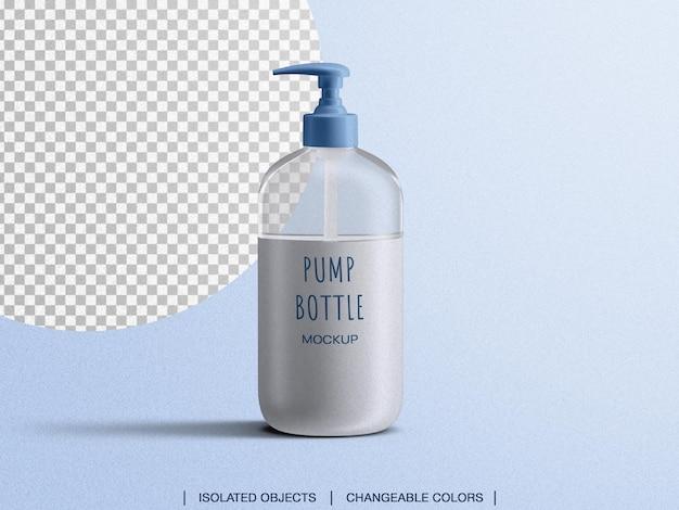 Makieta widoku z przodu dozownika mydła w płynie z pompką na białym tle
